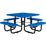 "46"" Square Outdoor Steel Picnic Table - Perforated Metal - Blue"