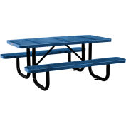 6 ft. Rectangular Outdoor Steel Picnic Table - Perforated Metal - Blue