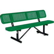 6 ft. Outdoor Steel Picnic Bench with Backrest - Perforated Metal - Green
