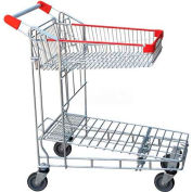 Vestil Nestable Folding Top Shelf Wire Shopping Cart WIRE-S