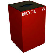 Steel Recycling Container with Combo Opening - 24 Gallon Capacity Red