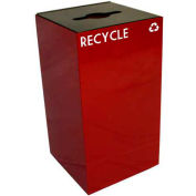 Steel Recycling Container with Combo Opening - 28 Gallon Capacity Red