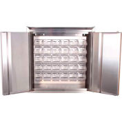 """Jamco Stainless Steel Wall Mount Cabinet KP130 - All-Welded with 20 Clear Bins 30""""W x 12""""D x 30""""H"""