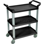 Luxor® SC12B Black 3-Shelf Plastic Serving Utility Cart 200 Lb. Capacity
