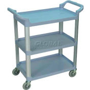 Luxor® SC12G Gray 3-Shelf Plastic Serving Utility Cart 200 Lb. Capacity