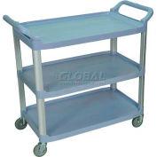 Luxor® SC13G Gray 3-Shelf Plastic Serving Utility Cart 300 Lb. Capacity