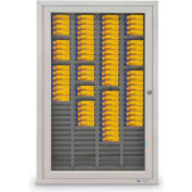"Aluminum Badge & Time Card Cabinet, 120 Slots, 22""W x 3-1/4""D x 35""H, Satin"