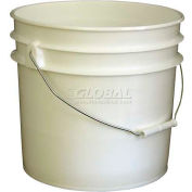 Vestil 3.5 Gallon Open Head Plastic Pail PAIL-35-PWS with Steel Handle - White