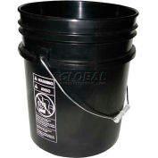 Vestil 5 Gallon Open Head Plastic Pail PAIL-54-UBKS with Steel Handle - Black