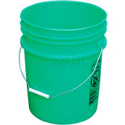 Vestil 5 Gallon Open Head Plastic Pail PAIL-54-PGS with Steel Handle - Green