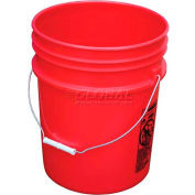 Vestil 5 Gallon Open Head Plastic Pail PAIL-54-PRS with Steel Handle - Red