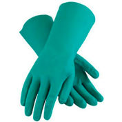 PIP Flock Lined Unsupported Nitrile Gloves, 15 Mil, Green, L, 1 Pair