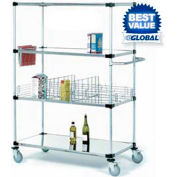 Nexel® Stainless Steel Shelf Truck 48x18x80 1200 Lb. Capacity with Brakes