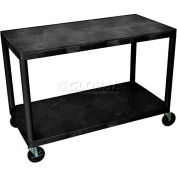"Luxor® HEW385 2 Shelf Industrial Plastic Storage Cart 48""L x 24""W x 36""H"