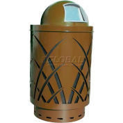 Covington Sawgrass 40 Gallon Steel Receptacle w/Dome Top - Brown