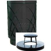 Covington Sawgrass 40 Gallon Steel Receptacle w/Rain Cap - Black