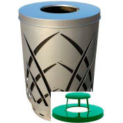 Covington Sawgrass 40 Gallon Steel Receptacle w/Rain Cap - Silver