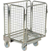 Galvanized Steel Folding Roller Container Shelf Truck 1 Shelf ROL-55