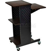 Luxor Walnut Prestige 4-Shelf Computer Presentation Workstation