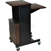 Luxor Walnut Prestige 4-Shelf Computer Presentation Workstation with Cabinet