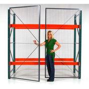 "Wirecrafters - RackBack® Wire Mesh Pallet Rack Enclosure - Hinged Door 96""W x120"