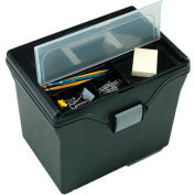 "IRIS 110977 Portable Letter Size File Box, 10"" x 13-3/8"" x 11-5/8"", Black - Pkg Qty 4"