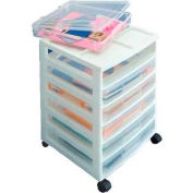 "IRIS 6 Drawer Cart - 15-7/8""L x 14-5/16""W x 26-13/16""H - White / Clear - Pkg Qty 2"