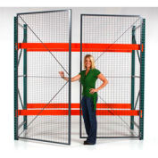 "Wirecrafters - RackBack® Wire Mesh Pallet Rack Enclosure -Hinged Door 144""x96"""