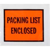 "Full Face Envelopes, ""Packing List Enclosed"" Print, 4-1/2""L x 5-1/2""W, Orange, 1000/Packs"