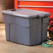 Rubbermaid 2162 Roughneck Tote  Latching 35 Gallon Dark Blue w/Metallic - Pkg Qty 6
