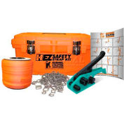 """Kubinec Strapping Polyester Kit w/ Ratchet Tool/Buckles & Case, 250'L x 3/4"""" Strap Width, Orange"""
