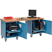 72 x 30 Shop Top Square Edge Mobile Pedestal Workbench Blue