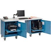 72 x 30 Plastic Safety Edge Mobile Pedestal Workbench Blue