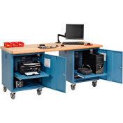 72 x 30 Maple Safety Edge Mobile Pedestal Workbench Blue