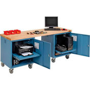 72 x 24 Maple Square Edge Mobile Pedestal Workbench Blue