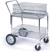 """Wesco® Office & Mail Cart 272230 33.5 x 23.75 5"""" Rubber Casters, 10"""" Wheels"""
