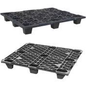 Nestable Plastic Pallet 48 X 40 X 4.7, 1500 Lb. Capacity, Black - Pkg Qty 10