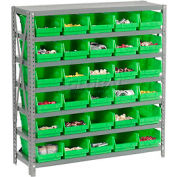 "Global Industrial™ Steel Shelving with 30 4""H Plastic Shelf Bins Green, 36x12x39-7 Shelves"