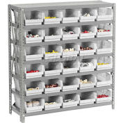 "Steel Shelving with 30 4""H Plastic Shelf Bins Stone White, 36x12x39-7 Shelves"