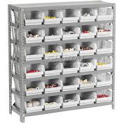 "Global Industrial™ Steel Shelving with 30 4""H Plastic Shelf Bins Ivory - 36x12x39-7 Shelves"