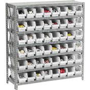 "Global Industrial™ Steel Shelving with 48 4""H Plastic Shelf Bins Ivory - 36x12x39-7 Shelves"