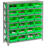 "Steel Shelving with 24 4""H Plastic Shelf Bins Green, 36x12x39-7 Shelves"