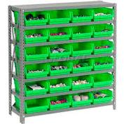 "Steel Shelving with 24 4""H Plastic Shelf Bins Green, 36x12x39-7 Shelves"