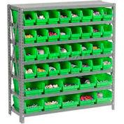 "Global Industrial™ Steel Shelving - Total 42 4""H Plastic Shelf Bins Green, 36x12x39-7 Shelves"
