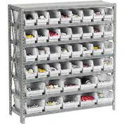 "Steel Shelving with Total 42 4""H Plastic Shelf Bins Ivory - 36x12x39-7 Shelves"