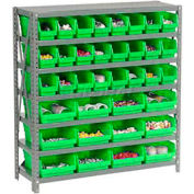 "Steel Shelving with Total 36 4""H Plastic Shelf Bins Green, 36x12x39-7 Shelves"