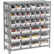 "Steel Shelving with Total 36 4""H Plastic Shelf Bins Ivory - 36x12x39-7 Shelves"