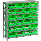 "Steel Shelving with 24 4""H Plastic Shelf Bins Green, 36x18x39-7 Shelves"