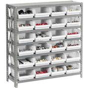 "Steel Shelving with 24 4""H Plastic Shelf Bins Stone White, 36x18x39-7 Shelves"