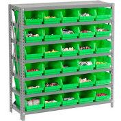 "Steel Shelving with 36 4""H Plastic Shelf Bins Green, 36x18x39-7 Shelves"